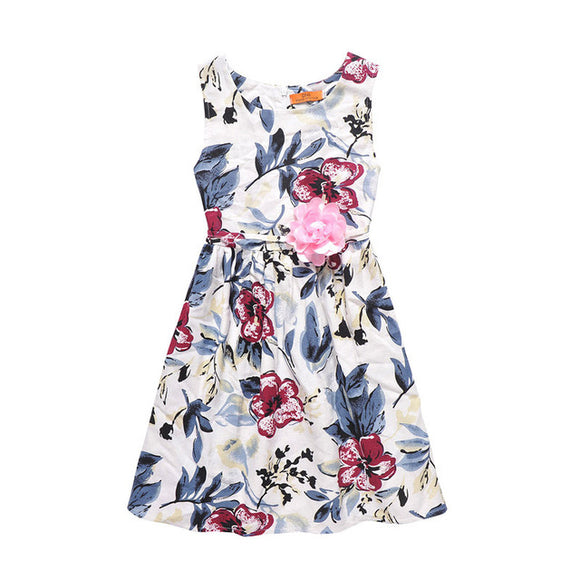 Summer children clothes Baby girls dresses Casual Bohemian flower beach dress Princess party dress tutu Linen high quality