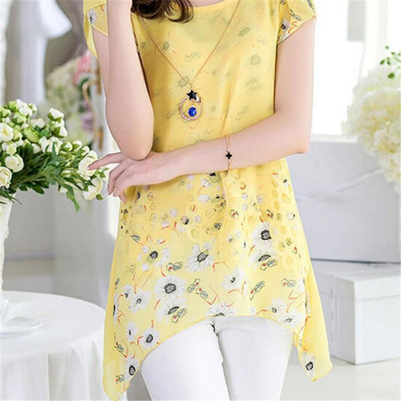 2018 Elegant Summer Women Floral Print Irregular Long Tops Asymmetric Hem Chiffon Blouse Tee Shirt Plus Size M-XXXL