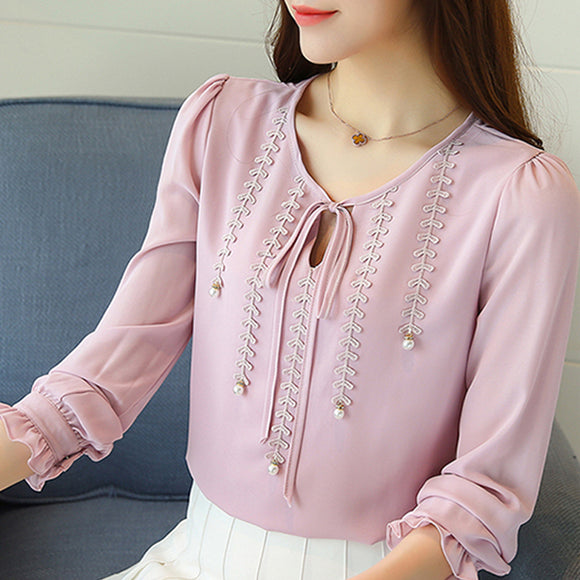 Autumn fashion Women Chiffon Blouse Shirt Petal Sleeve Blusas Shirts Femme Casual Tops Slim Ladies Plus Size Blouses 80B