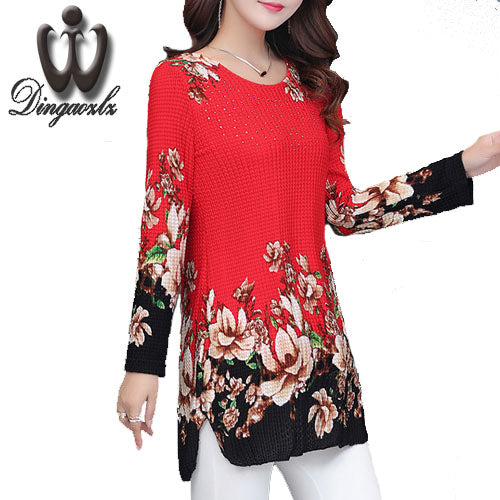 Dingaozlz Autumn 2017 Women blouse shirt Fashion Ladies shirt Plus size clothing Casual Diamond Printed Female Tops Slim 4XL