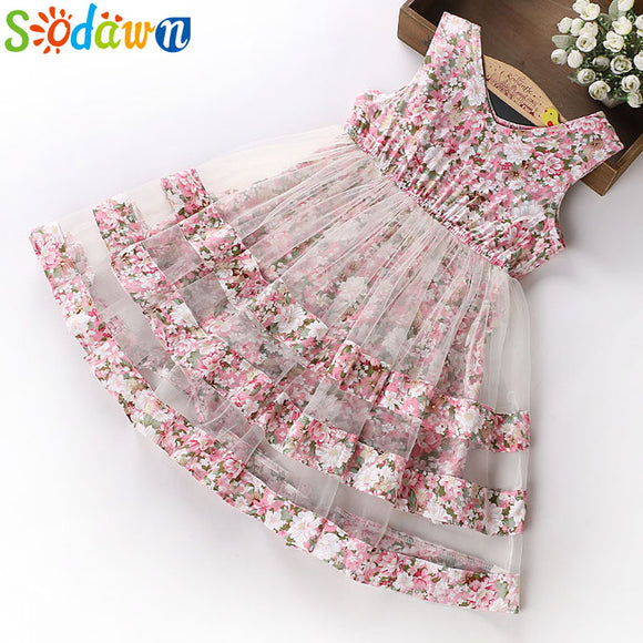 Sodawn 2018 Summer Party Dresses For Girls Wedding Dresses Floral Print Kids Dresses Summer Sundress 5-12Years Baby Girls Dress