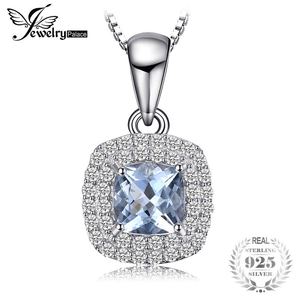 JewelryPalace Cushion Cut 0.8ct Natural Aquamarine Pendant 925 Sterling Silver Pendant Fashion Jewelry for Women Without Chain