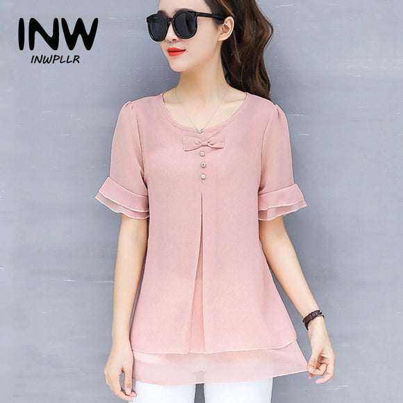 2018 New Arrival Summer Tops Women Korean Fashion Solid Chiffon Blouse Mujer Short Sleeve Plus Size Shirts Female Blusas