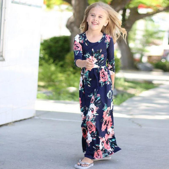 Girls Dresses Long Dress Fashion Trend Bohemian for Girls Beach Tunic Floral Autumn Maxi Dress Kids Party Princess Dresses