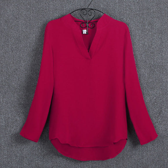 5XL Plus Size Red Blouse Clothing for Women 2018 Spring Long Sleeve Shirt Chiffon Office Blouse Ladies Top White Blusas Mujer Z2