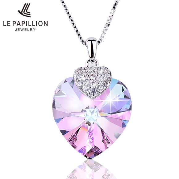 LE PAPILLION Fine Jewelry Women Necklace Made with Swarovski Crystal Heart Shape Amethyst Crystal Pendant Necklace Lady Collares