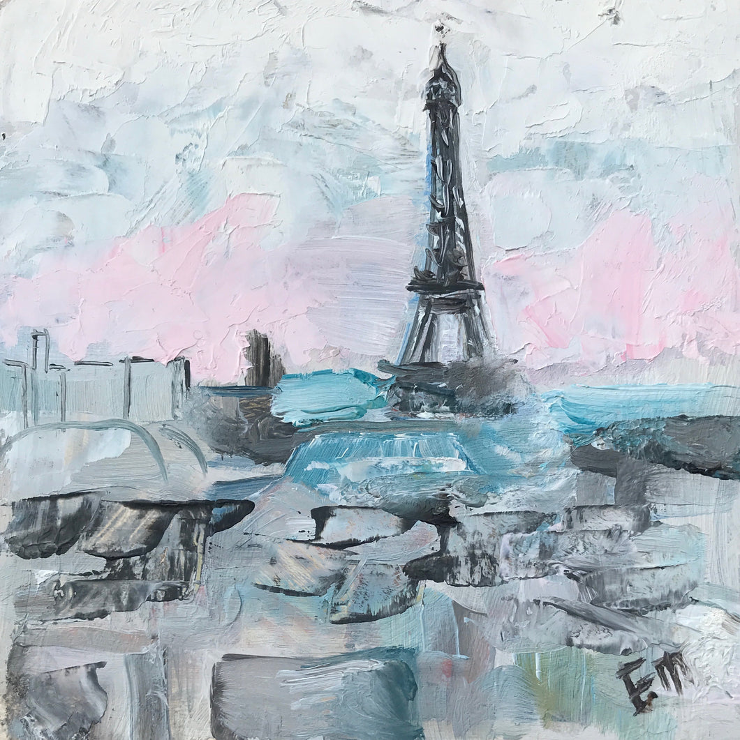 Eiffel Tower View, 13 x 13cm oil on board