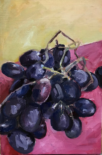 More Grapes, Media: oil on canvas board Size: 24x18 cm