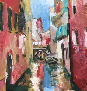 Venice Canal, 15 x 15 Oil on panel