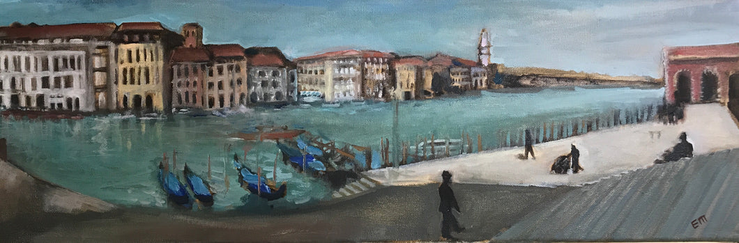 Venice Canal: Long View, oil on canvas, 20 x 60 cm.