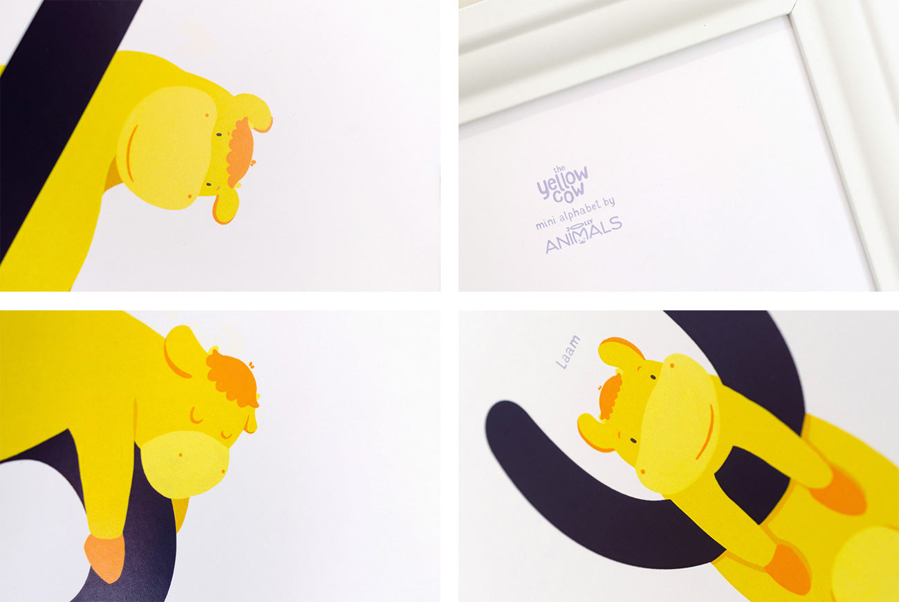 the yellow cow poster set details