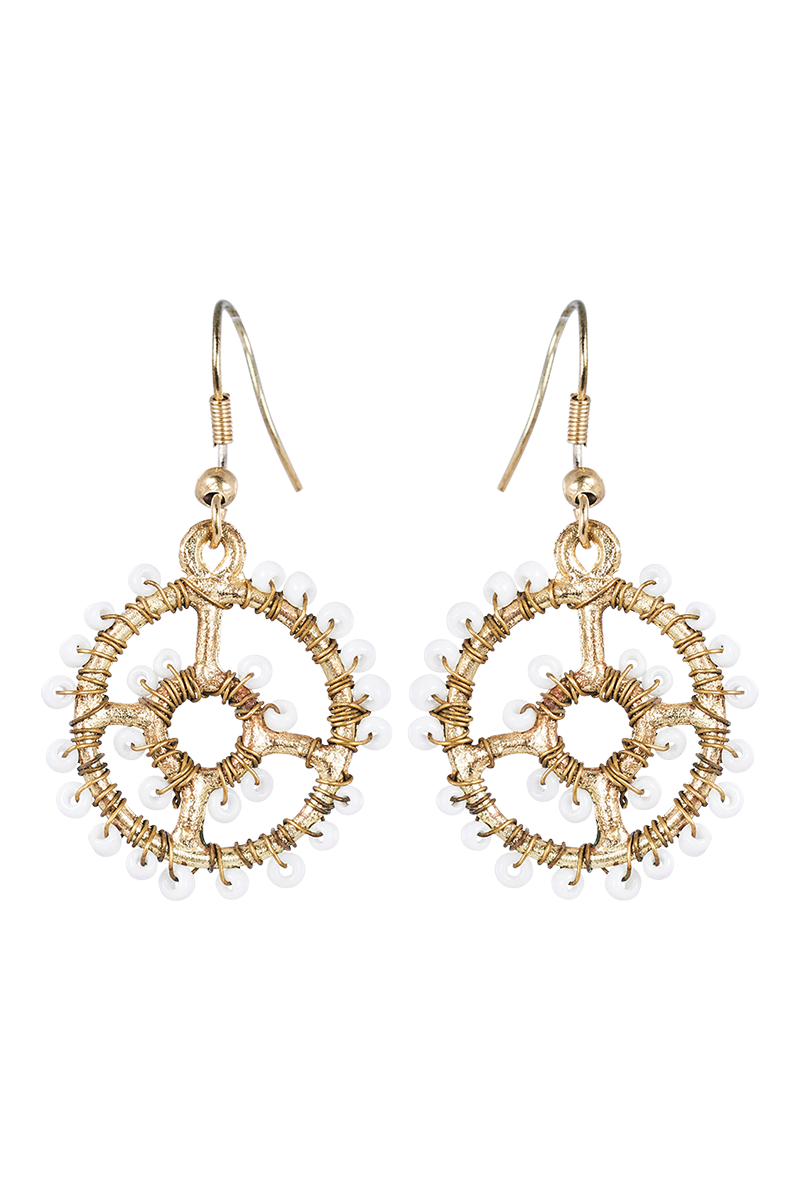 Tribal Disc Earring - Ivory - eb&ive Earring