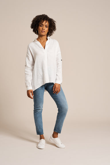 Jacinda Shirt - White - eb&ive Clothing - Shirt L/S Linen