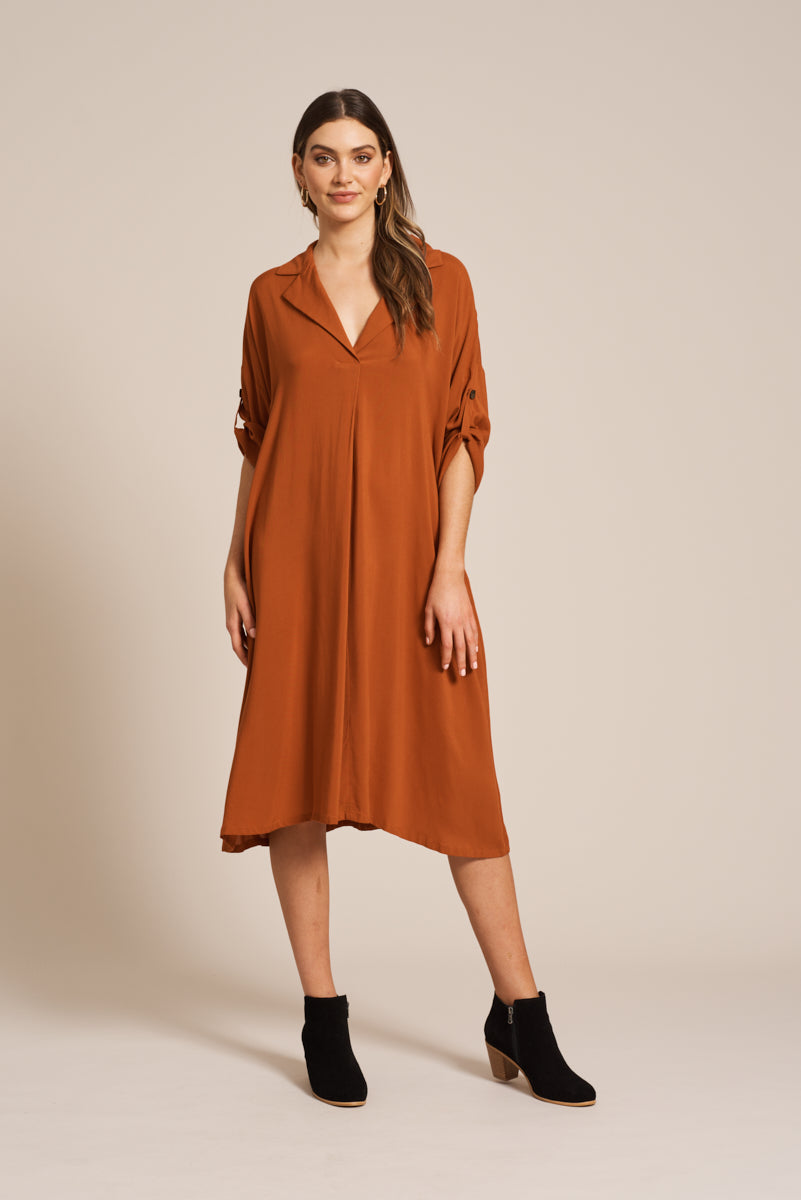 Marie Dress - Terracotta - eb&ive Clothing - Dress Mid