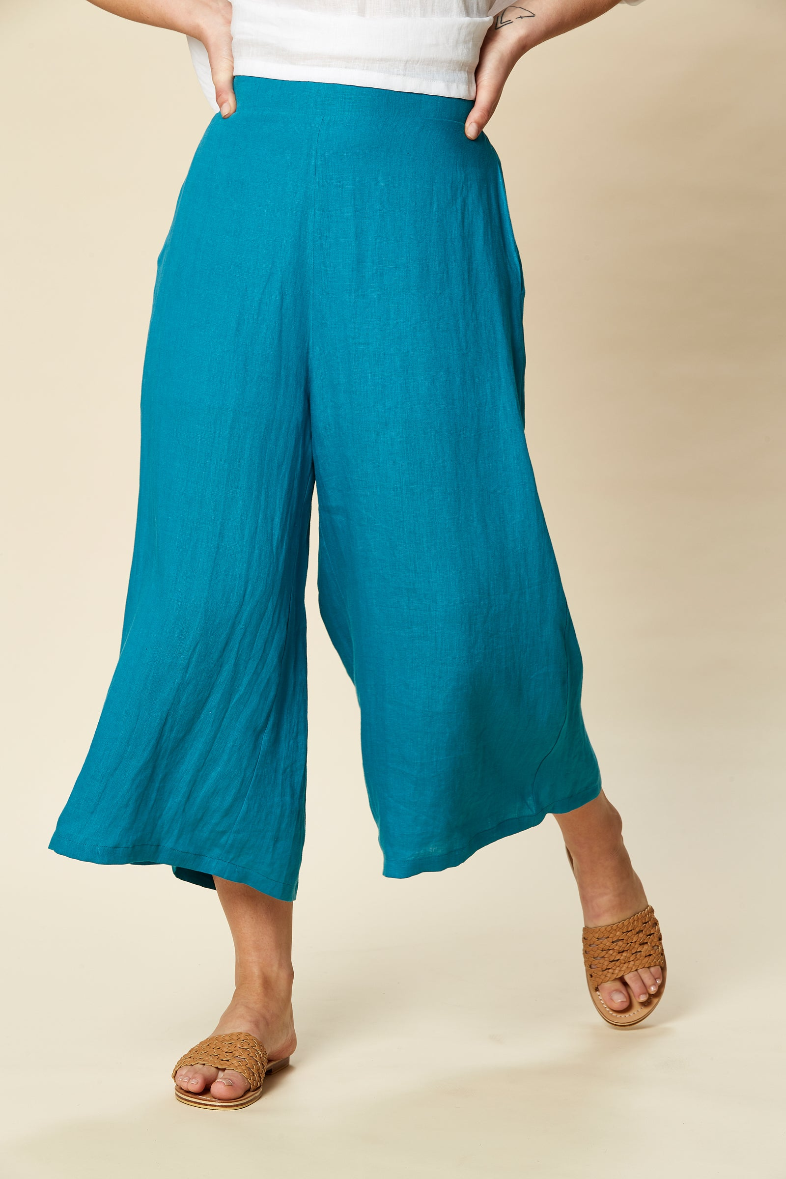Tribu Pant - Cyan - eb&ive Clothing - Pant Relaxed Linen