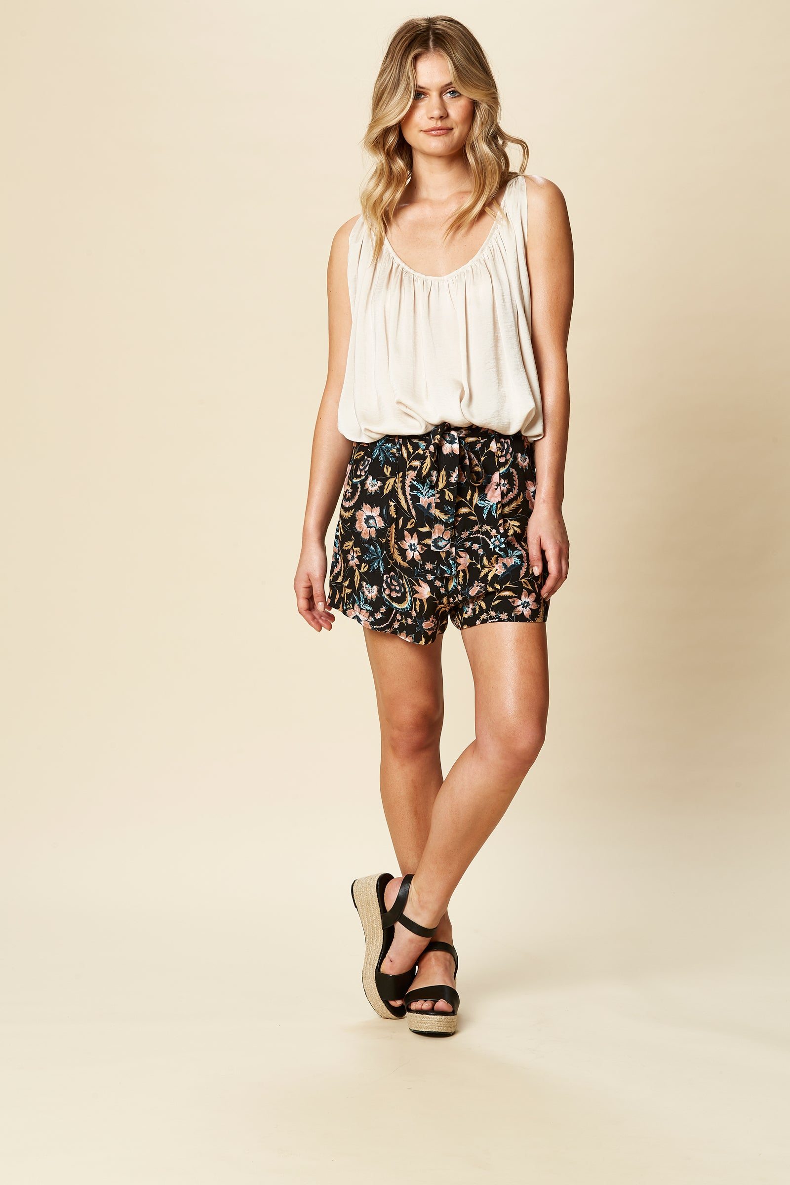 Siela Short - Black Botanical - eb&ive Clothing - Short Woven
