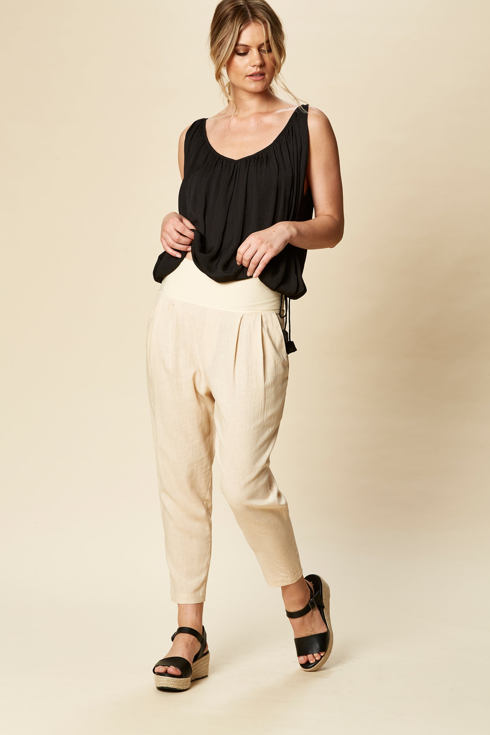 Siela Pant - Bisque - eb&ive Clothing - Pant Relaxed