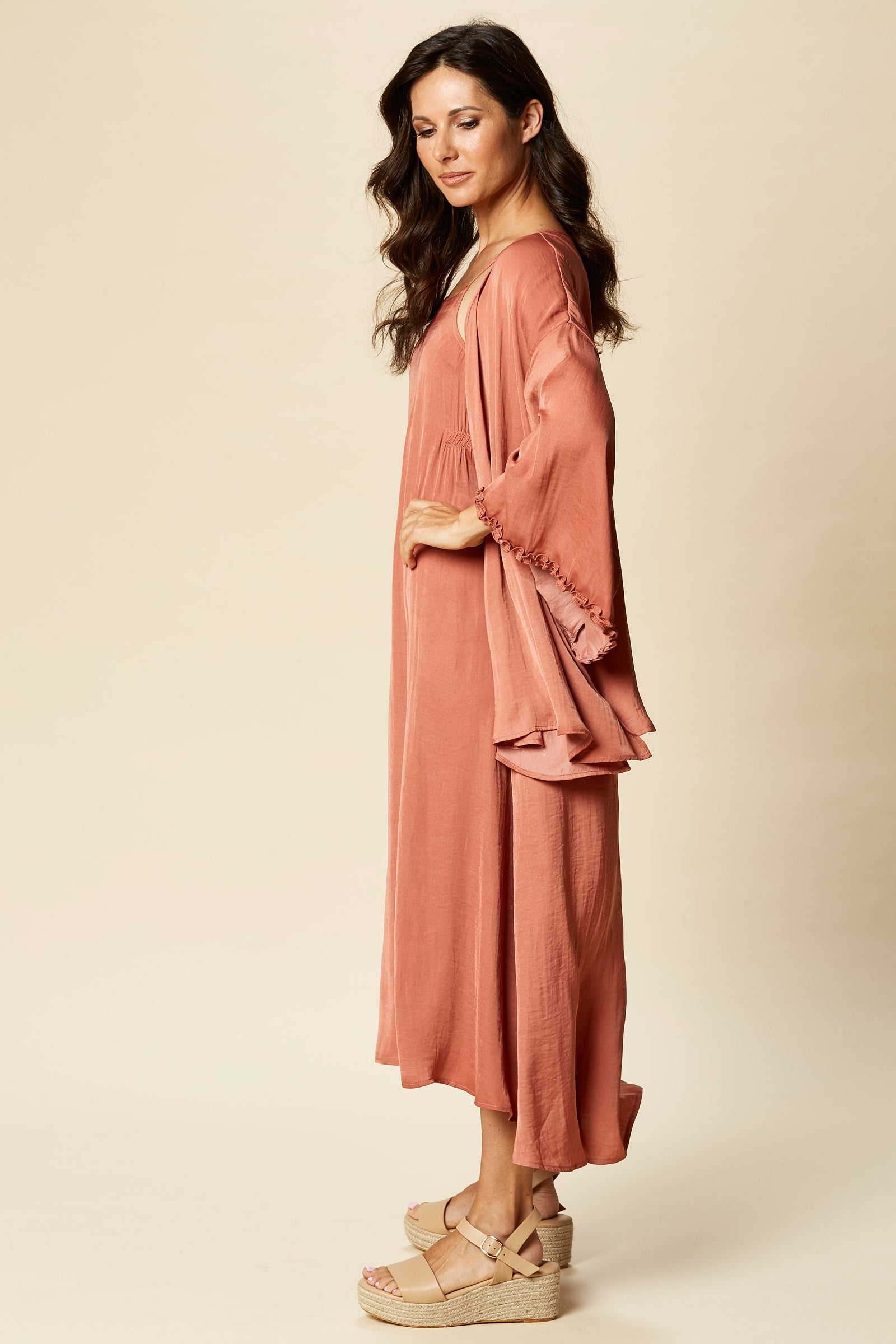 Zena Cape - Clay - eb&ive Clothing - Top 3/4 Sleeve