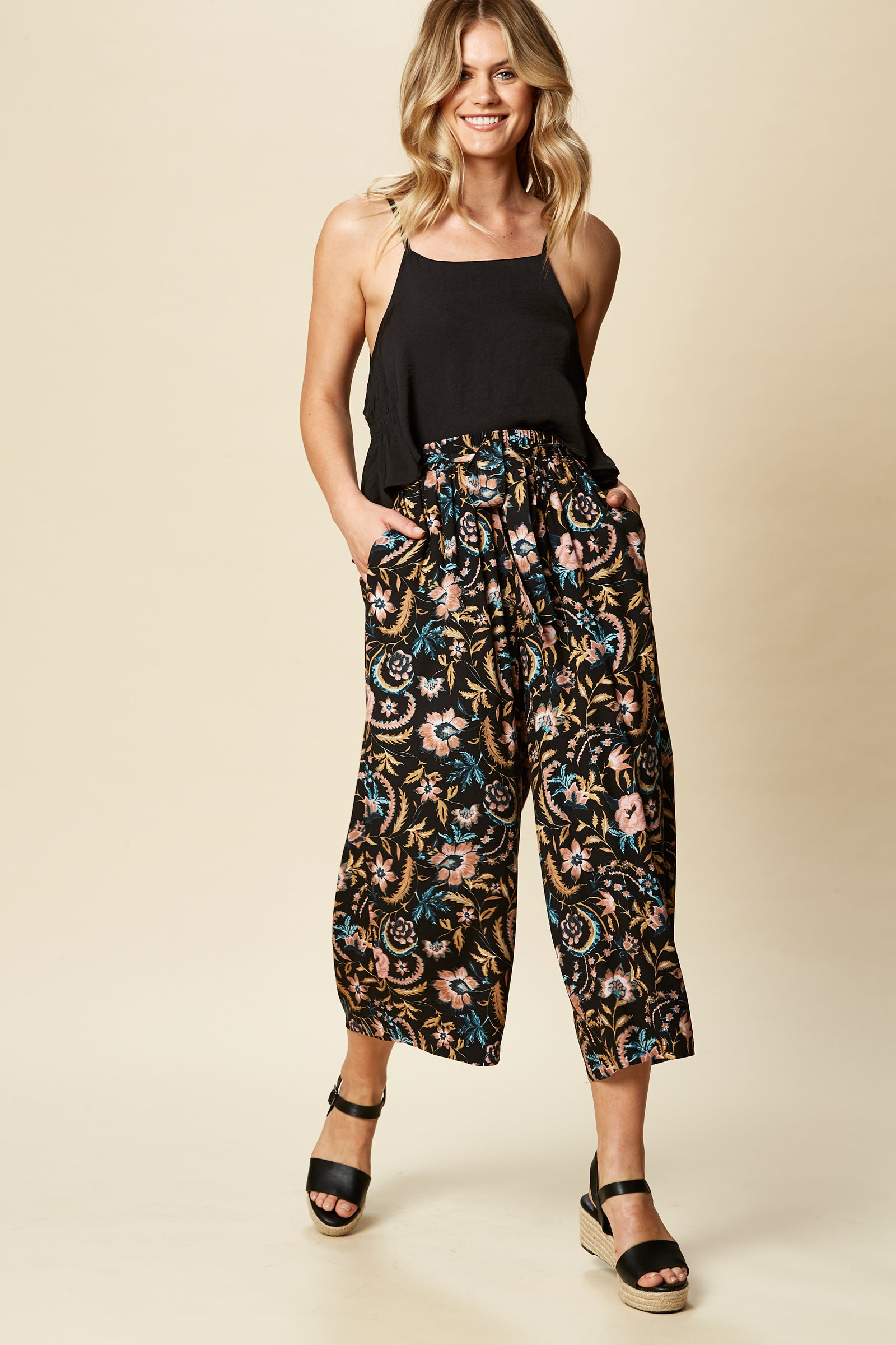 Zena Pant - Black Botanical - eb&ive Clothing - Pant Relaxed