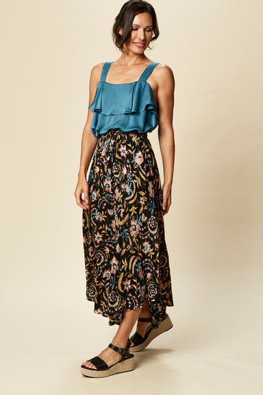 Zena Skirt - Black Botanical - eb&ive Clothing - Skirt Mid