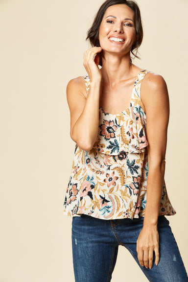 Zena Tank - Buff Botanical - eb&ive Clothing - Top Sleeveless
