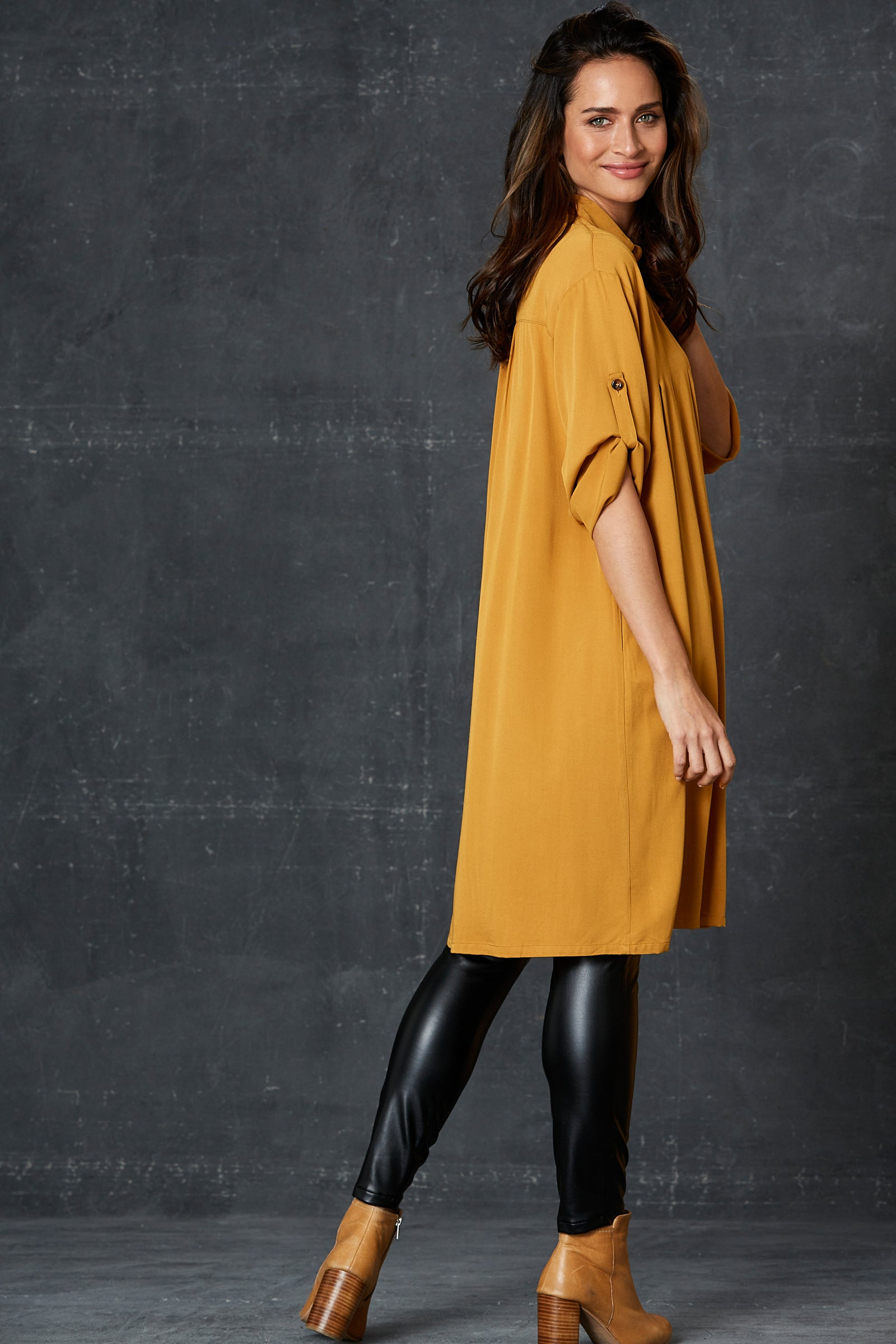 Getaway Shirt Dress - Saffron - eb&ive Clothing - Shirt Dress One Size