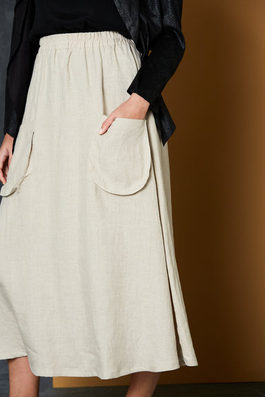Bask Skirt - Flax - eb&ive Clothing - Skirt Maxi Linen
