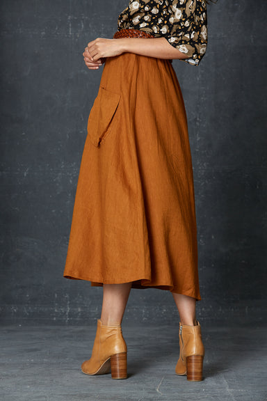 Bask Skirt - Caramel - eb&ive Clothing - Skirt Maxi Linen