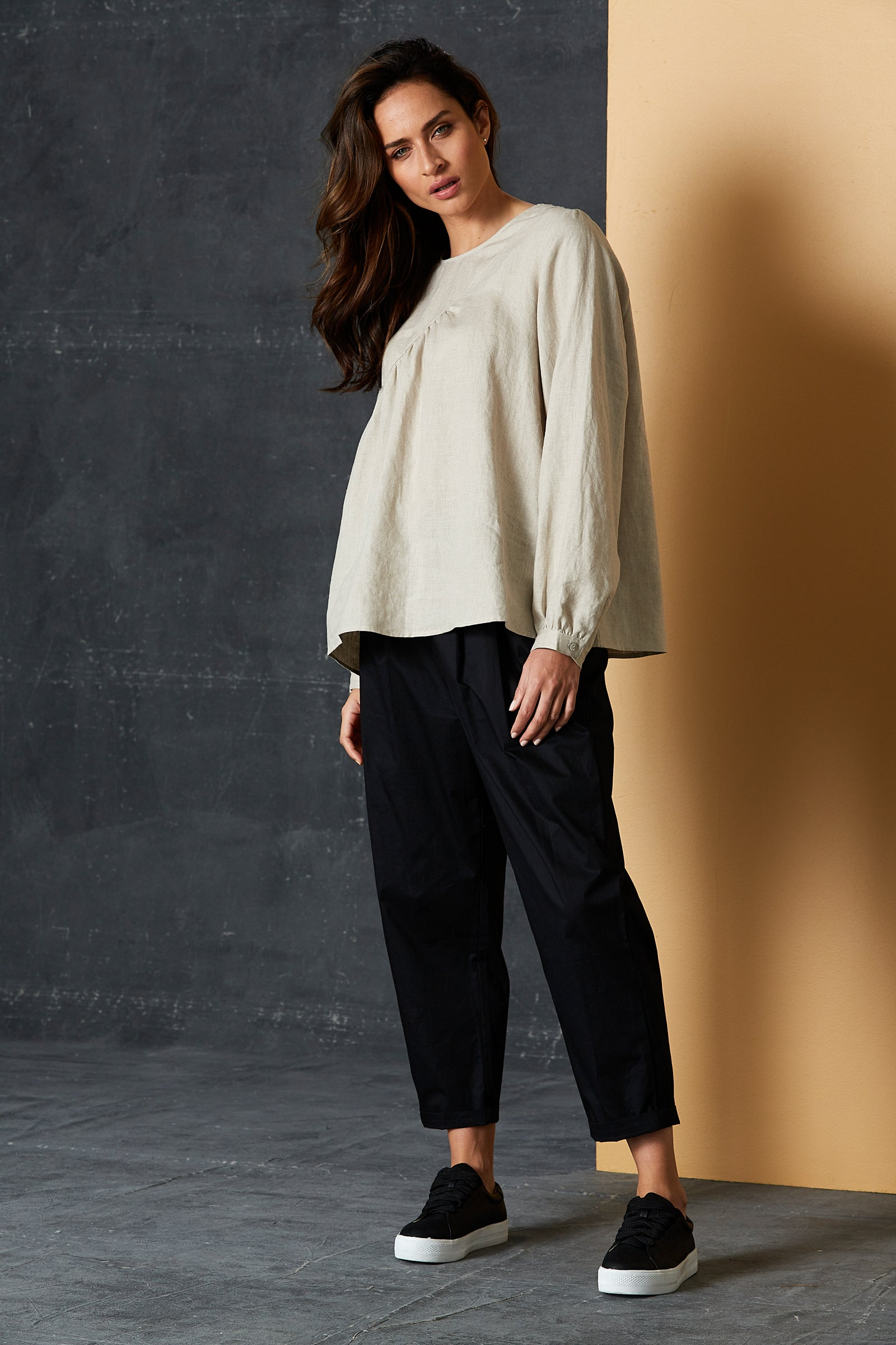 Bask Blouse - Flax - eb&ive Clothing - Top L/S Linen