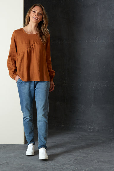 Bask Blouse - Caramel - eb&ive Clothing - Top L/S Linen