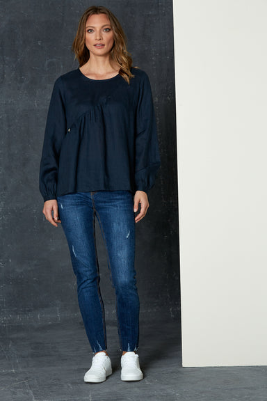 Bask Blouse - Admiral - eb&ive Clothing - Top L/S Linen
