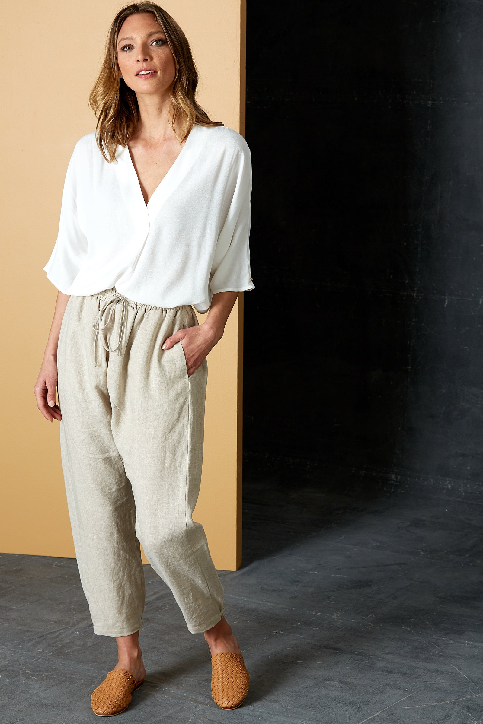 Bask Pant - Flax - eb&ive Clothing - Pant Relaxed Linen