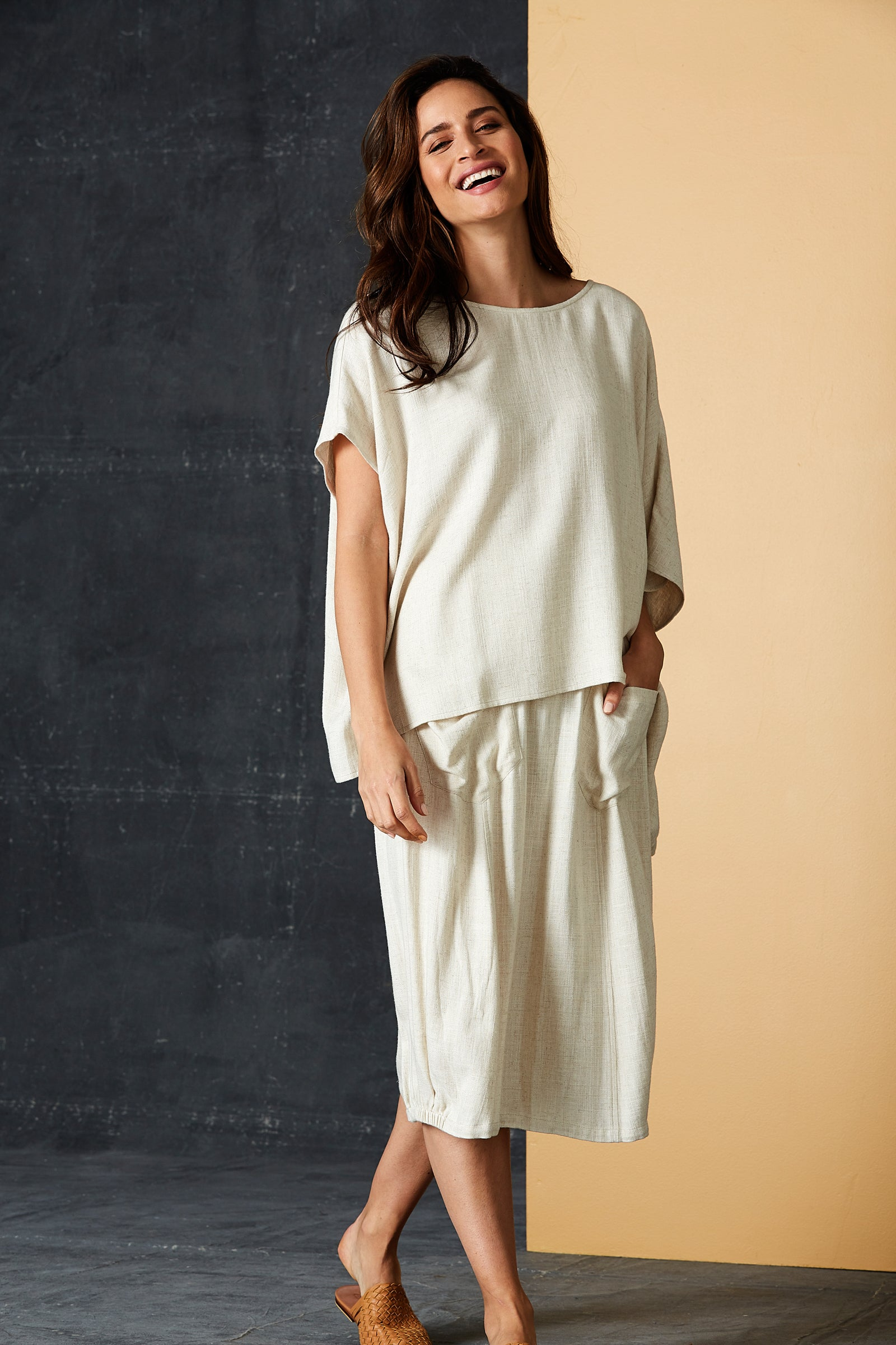 Calma Top - Wheat - eb&ive Clothing - Top S/S Linen One Size