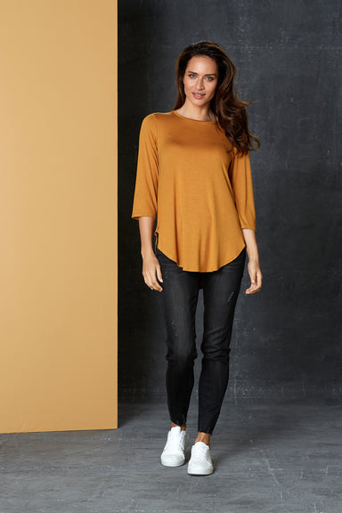 Muse Tshirt - Saffron - eb&ive Clothing - Top Tshirt L/S Relaxed