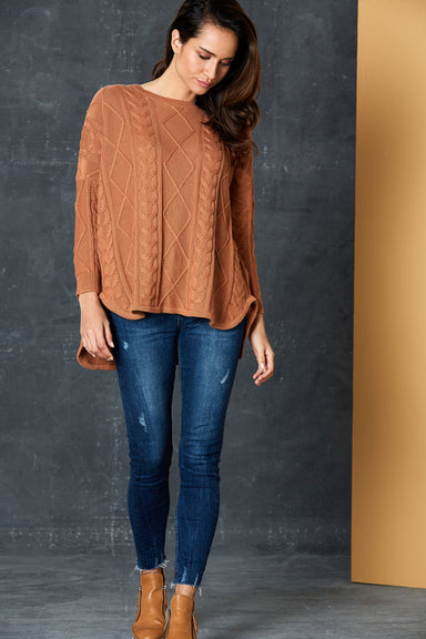 Unwind Cable Knit - Caramel - eb&ive Clothing - Knit Jumper One Size