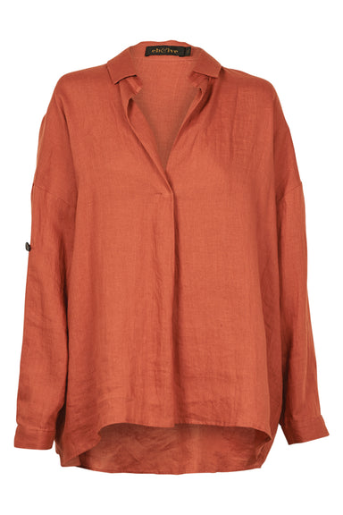 Jacinda Shirt - Terracotta - eb&ive Clothing - Shirt L/S Linen