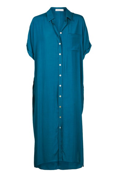Ohana Shirt Dress - Teal - eb&ive Clothing - Shirt Dress Maxi