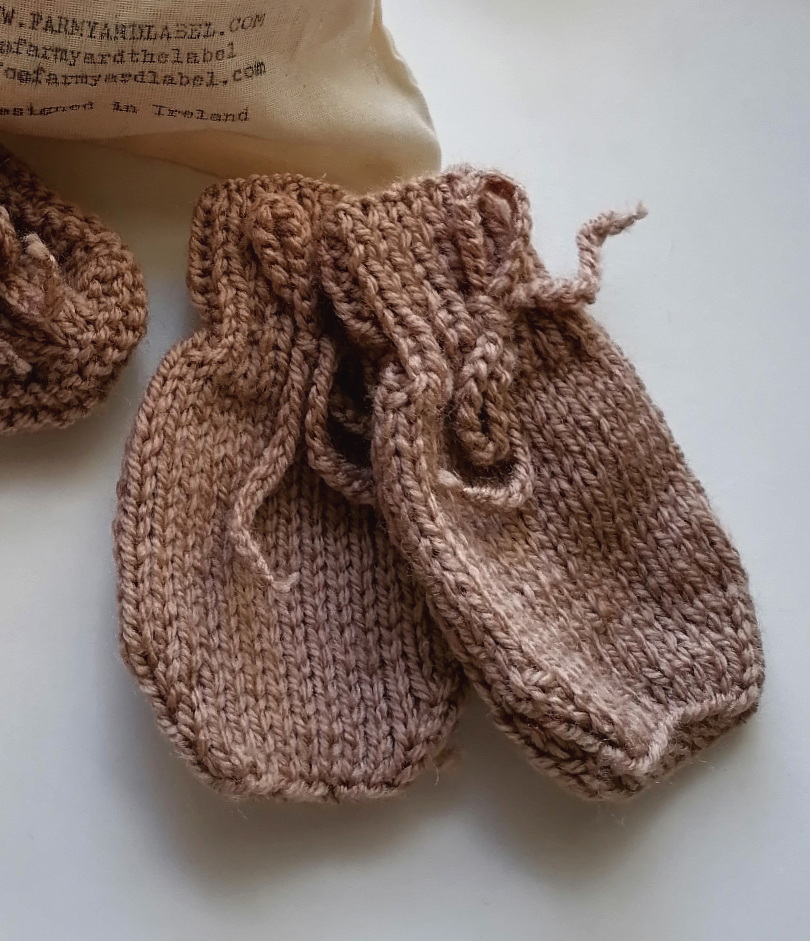Irish Hand Knit Baby Mittens - Pebble