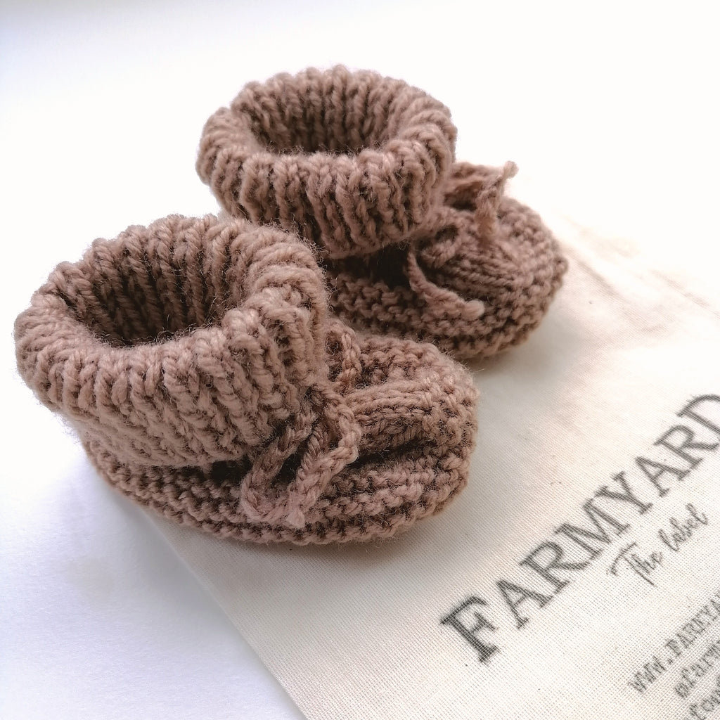 lrish Hand Knit Baby Booties - Pebble