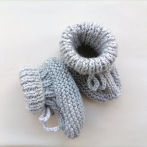 lrish Hand Knit Baby Booties - Grey Mist