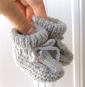 Irish Hand Knit Baby Booties - Grey Mist
