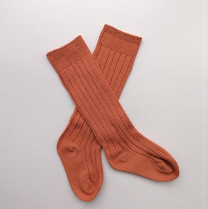 Ribbed Knee Socks - Pumpkin