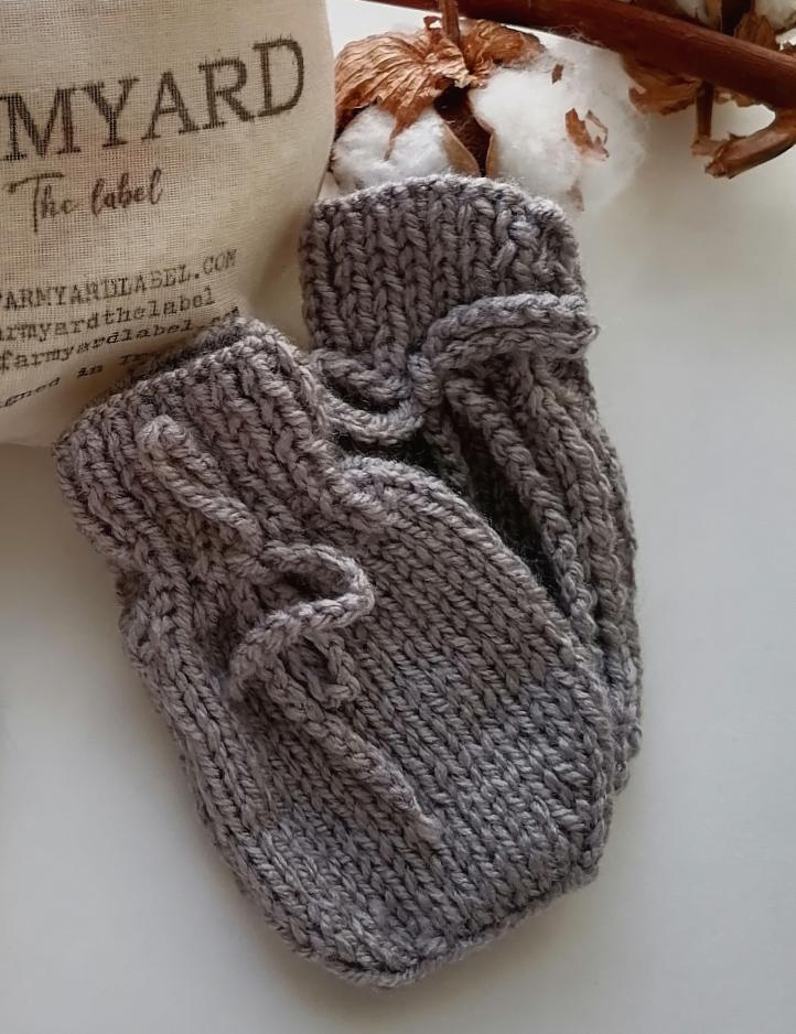 Irish Hand Knit Baby Mittens - Grey Mist