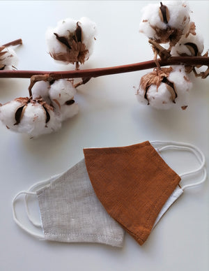 Childrens Organic Linen Face Mask - Rust