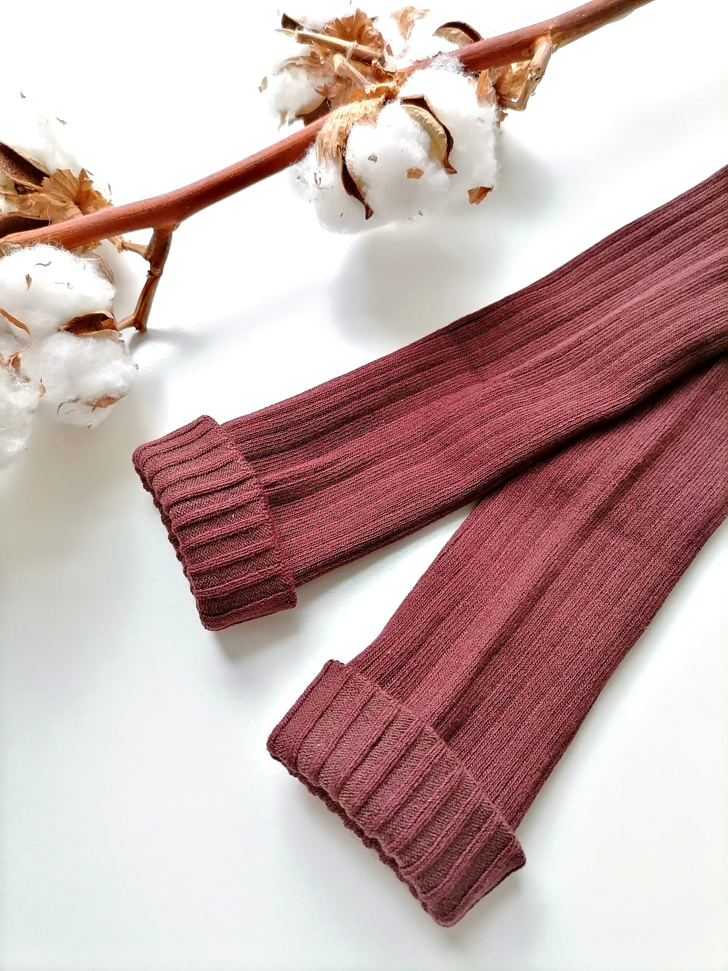 Chunky Knit Rib Leggings - Burgundy