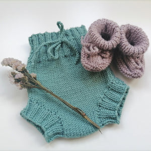 Irish Hand Knit Baby Booties - Lilac Grey