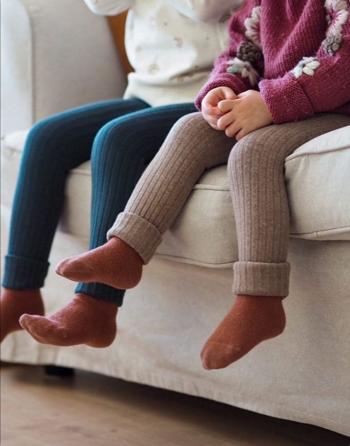 Chunky Knit Rib Leggings - Nut Brown