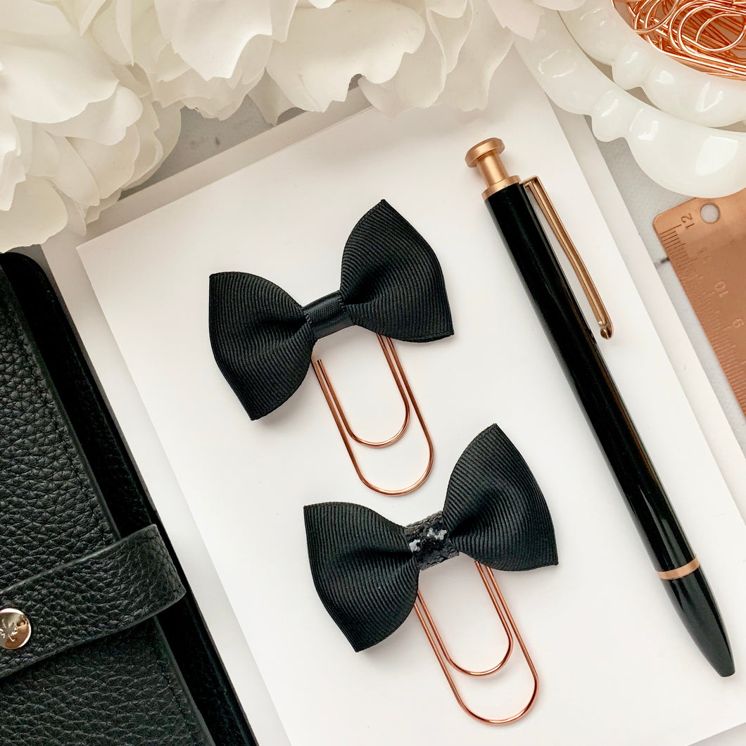 Black Ribbon Bow on Wide Rose Gold Paperclip