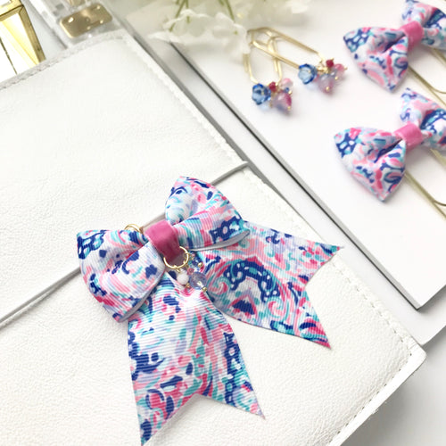 Pink and Blue Print Ribbon Bow Planner Charm