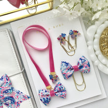 Load image into Gallery viewer, Pink Velvet and Pink and Blue Ribbon Bow Bookmark